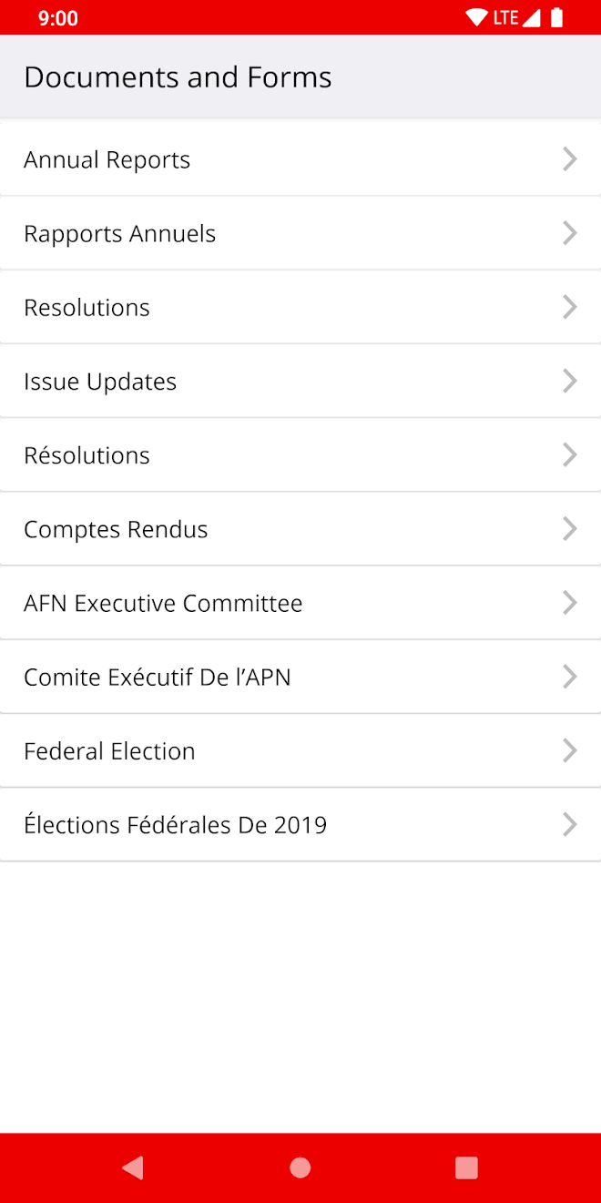 AFN National mobile app documents screen