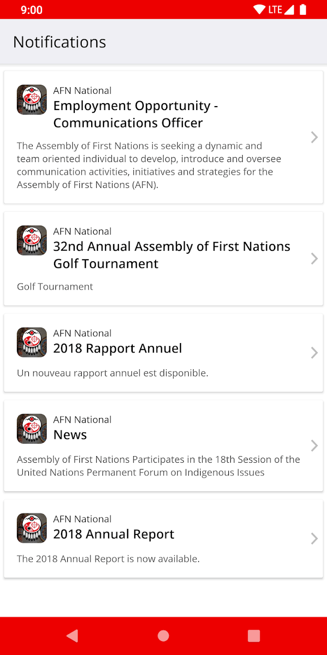 AFN National mobile app with push notification history