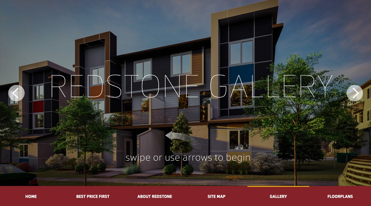 Screenshot of the Jayman Homes Redstone gallery - swipeable touchscreen gallery