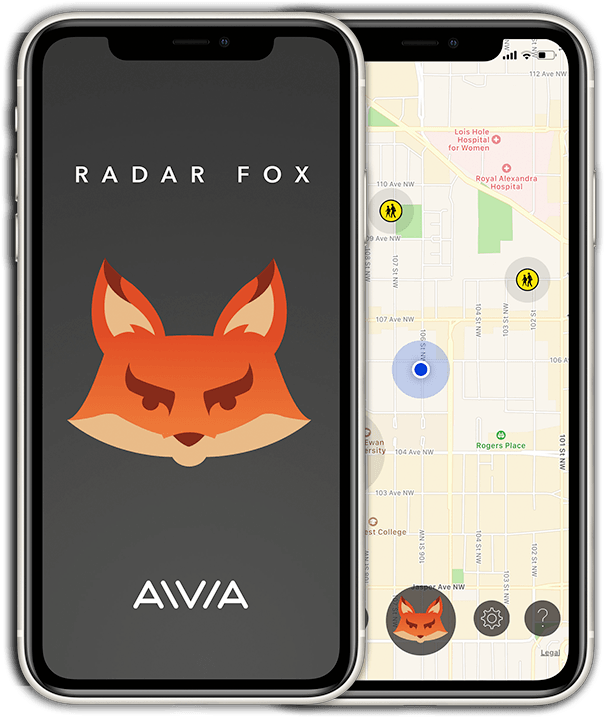 The Radar Fox app on 2 mobile devices