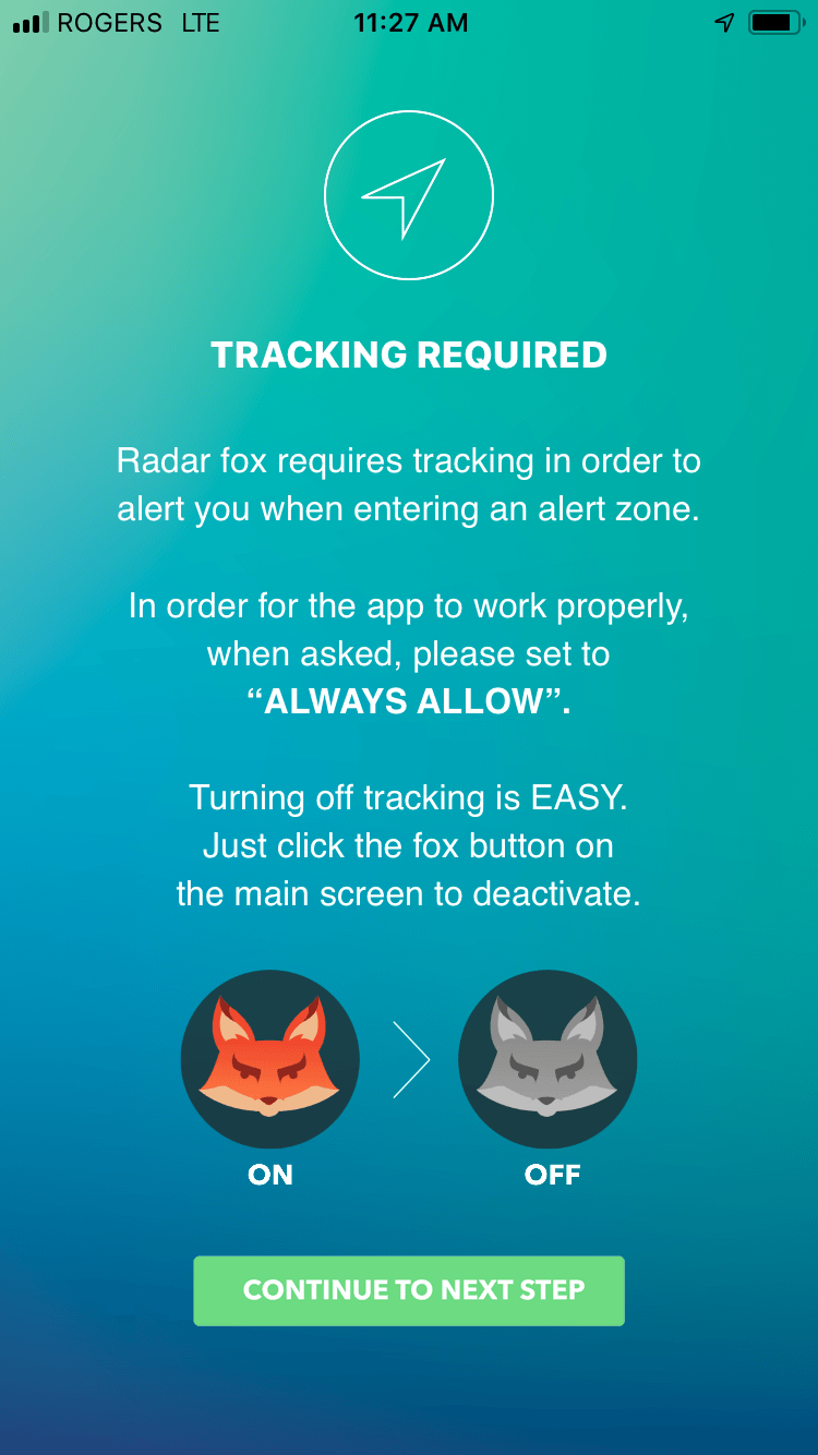 Enable tracking for the Radar Fox mobile app