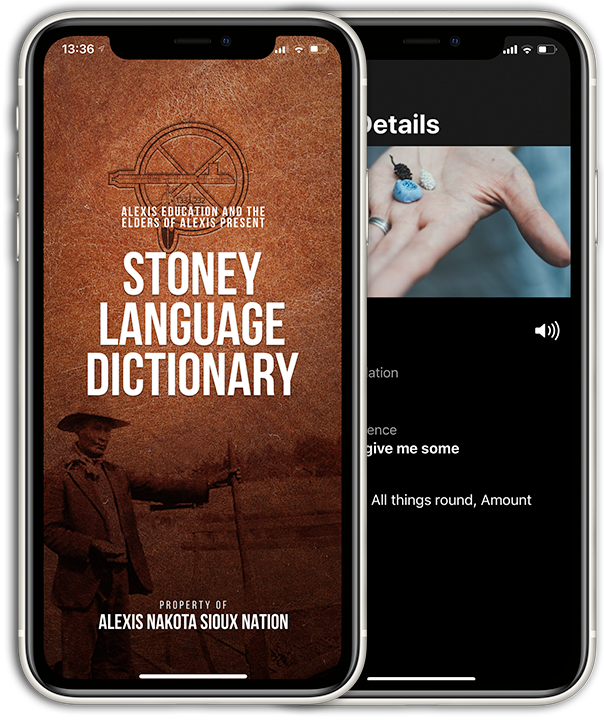 The Stoney Language mobile app displayed on 2 devices